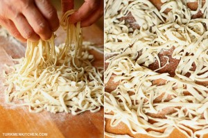 Pick up the noodles with your hands, gently shake off the excess flour, and spread them out.